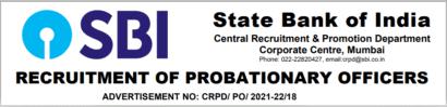 SBI PO Recruitment Online Form 2021
